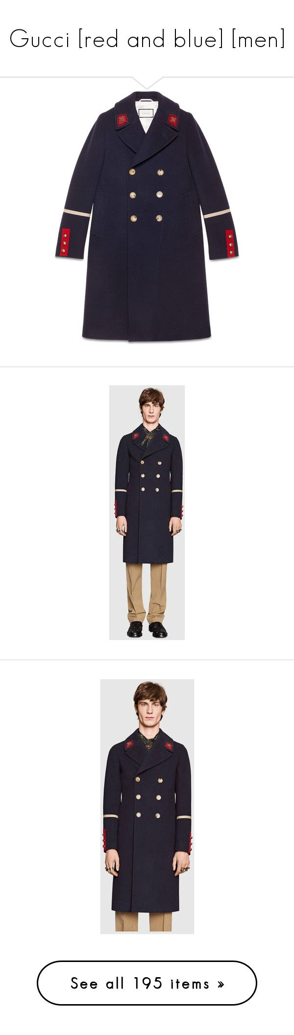 """""""Gucci [red and blue] [men]"""" by neneumi ❤ liked on Polyvore featuring men's fashion, men's clothing, men's outerwear, men's coats, gucci, outerwear, indigo, mens wool outerwear, mens cashmere coat and mens belted trench coat"""