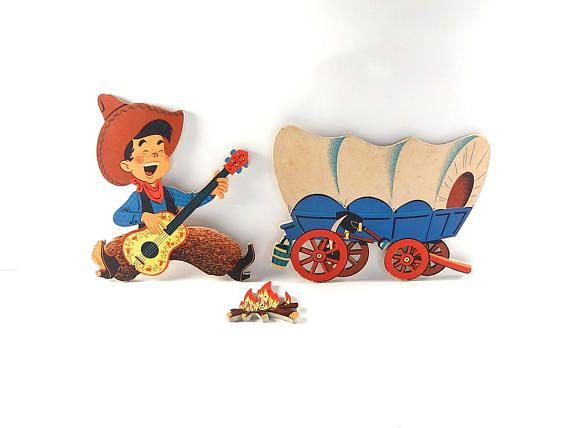 Kitschy Cowboy Nursery Pin Ups The Dolly Toy Co Vintage 1950s