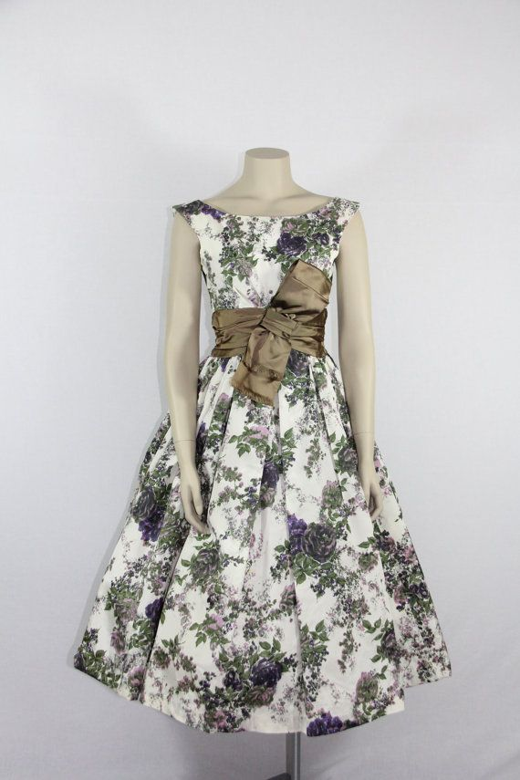 1950s Vintage Party Dress - JONNY HERBERT Floral Print Taffeta Full Skirt Dress on Etsy, $280.00