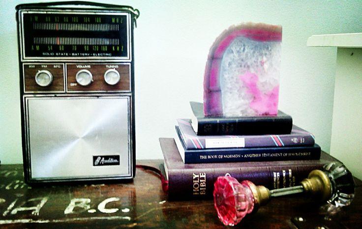 Eclectic home, pink, old radio, door knob, behr snowbound