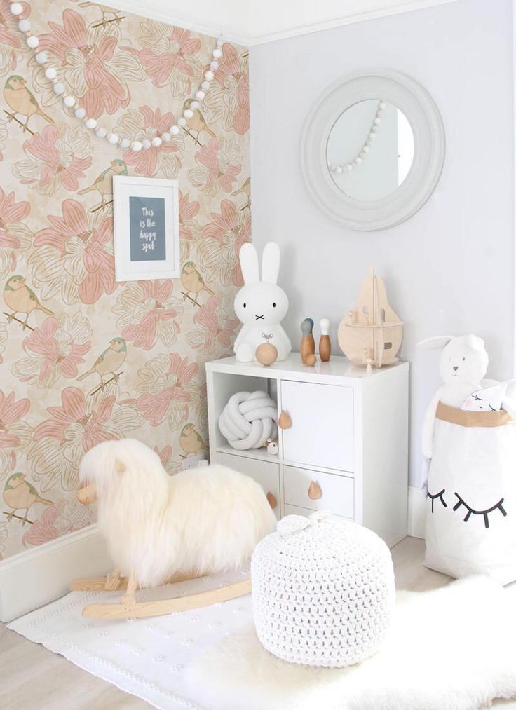 Beige birds removable Wallpaper – traditional – light pink Print wall mural – Self Adhesive Wall Dec