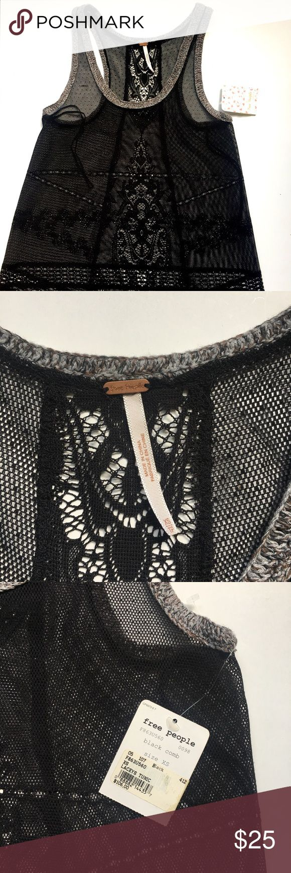 """Free People Black crochet lace tunic Free People Black lacy tunic tank top with a racer back, high low hem and gray piping. Such a pretty and delicate piece to use for layering!                                                      Measurements laid flat Full length 30"""" Bust 15"""" Free People Tops Tunics"""