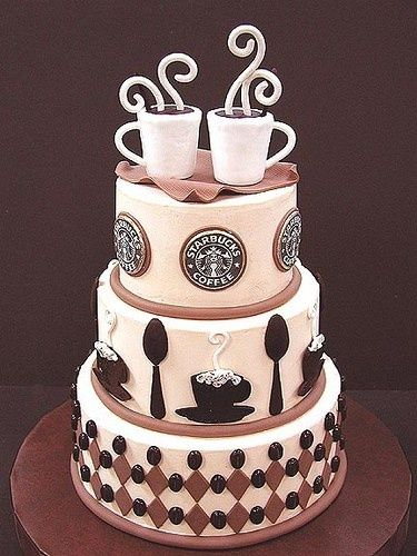 Awesome looking Starbuck's coffee cake! Great for a Starbucks themed birthday or a Starbucks loving bride and groom