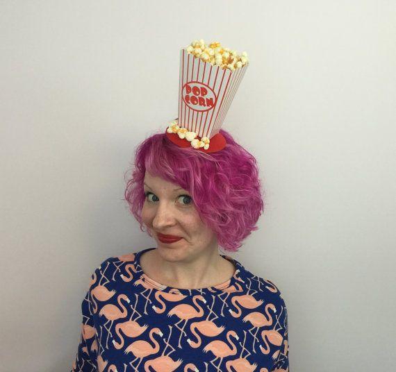 RTS Popcorn Bibi, chapeau de pop-corn, Bibi de film, nourriture Bibi, Costume, Burlesque, Mini chapeau, Kitsch, bibi le petit déjeuner, Vintage