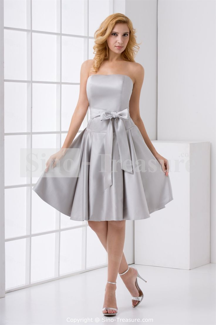 Top 25 best silver bridesmaid gowns ideas on pinterest silver a line silver satin bow knee length bridesmaid dress for wedding get surprising discounts up to off at milanoo using coupon promo codes ombrellifo Choice Image