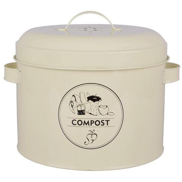 Fém tároló a komposztálandó hulladékok beltéri gyűjtéséhez, szűrővel a kellemetlen szagok ellen.
