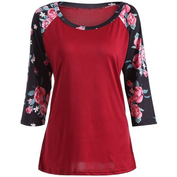 Raglan Sleeve Floral Print Tee ($20) ❤ liked on Polyvore featuring tops, t-shirts, red t shirt, floral tops, floral graphic tee, raglan sleeve top and flower print tops