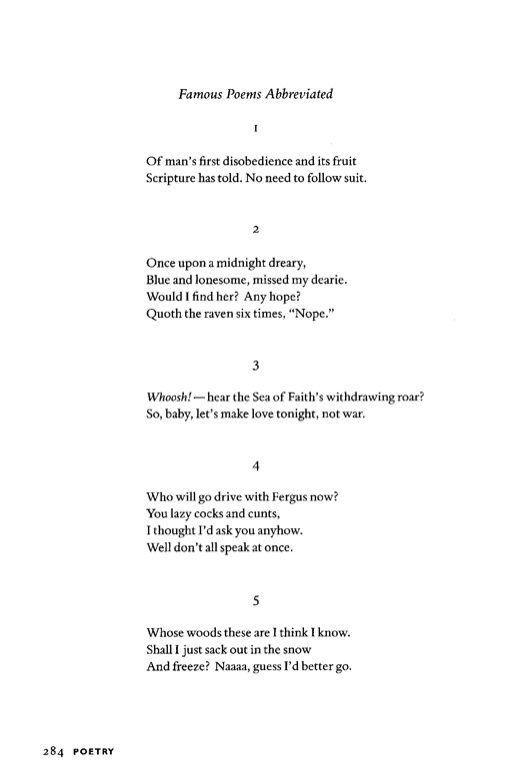 """Famous Poems Abbreviated"" by X.J. Kennedy : http://www ..."