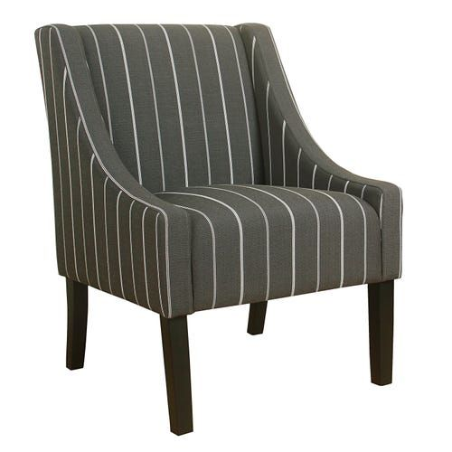 Modern Charcoal Stripe Swoop Accent Chair