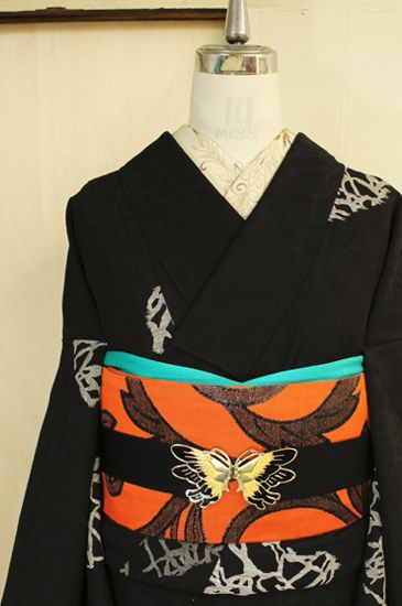 Sister shop online shop ■ □ kimono / recycling antique kimono □ ■ - lined kimono kimono modern black and white design, such as the story of the Witch of Forest
