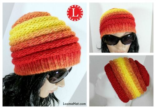 Loom Knitting Hat Patterns For Beginners : Loom knit ombre beanie pattern with video tutorial