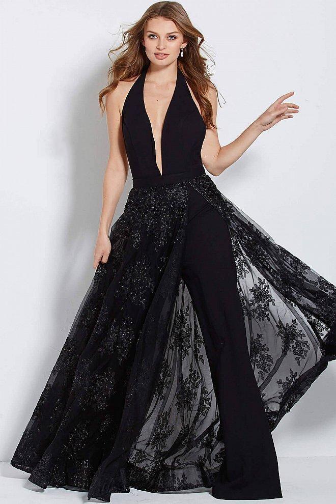dd57f7e994b3 ... Neckline Prom Dresses. Jovani - 61434 Deep Halter V-neck Jumpsuit With  Embellished Overskirt