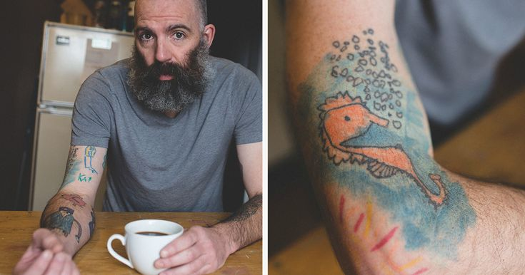 This Dad Has Been Tattooing His Son's Drawings On His Own Arm Since He Was 5 | Bored Panda