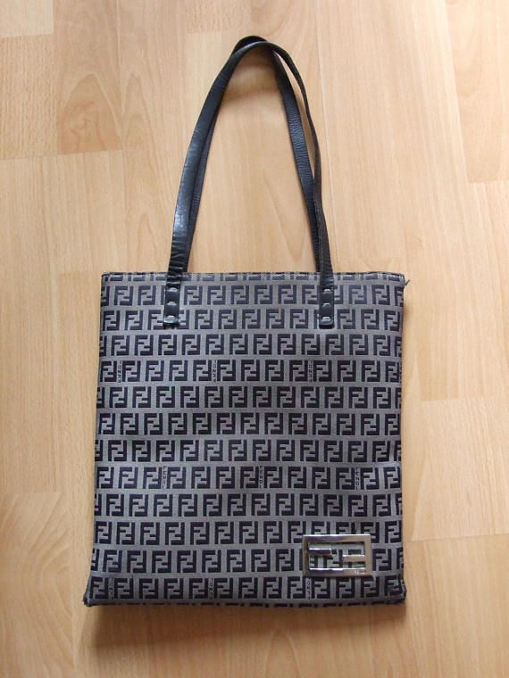 3943d8691a Vintage Designer FENDI Zucca Pattern Canvas Tote Bag Logo