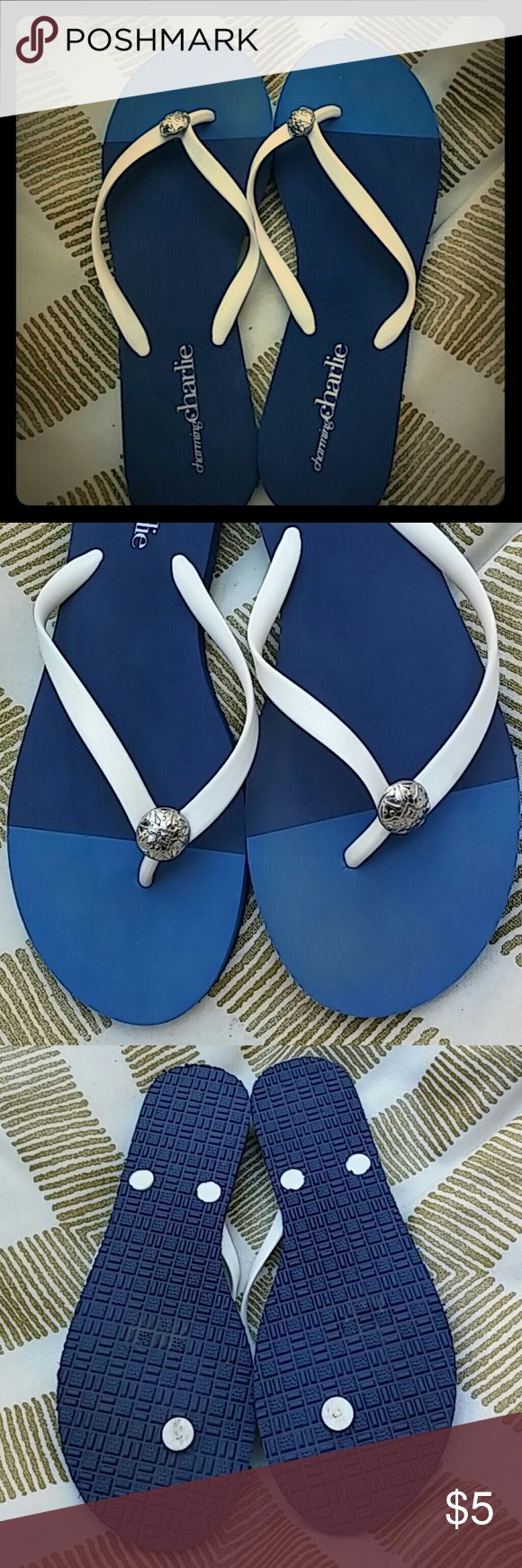 Charming charlies flip flops Blue and white flip flops with silver button on straps Charming Charlie Shoes Sandals