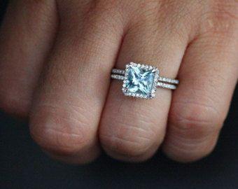 Vintage Aquamarine Wedding Ring W. Sapphire by AawsombleiJewelry