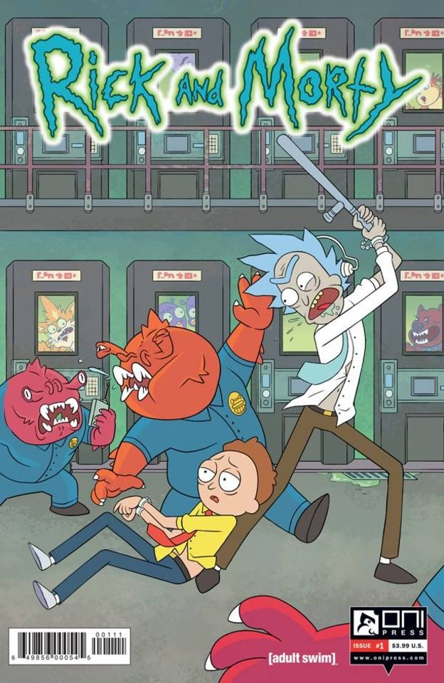 """Rick and Morty - Dan Harmon & Justin Roiland's hilarious hit Adult Swim animated show RICK & MORTY now has its own comic book series from Oni Press! Join degenerate superscientist Rick Sanchez as he embarks on all-new insane adventures with his awkward grandson Morty, his teenage granddaughter Summer, his veterinary surgeon daughter Beth, and his hapless son-in-law Jerry. In this issue: Part One of """"The Wubba Lubba Dub Dub of Wall Street""""!"""