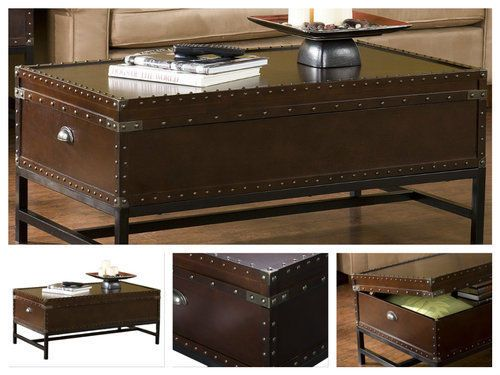 Trunk-Coffee-Table-Steamer-Storage-Vintage-Style-Box-Sofa-Rustic-Top-Wood-Unique