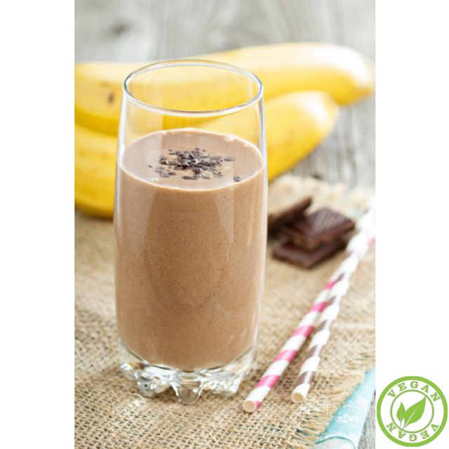 Chocolate Banana Vegan Smoothie! Blend: 1 cup of almond milk, 1 large frozen banana and 2 scoops of Champion Naturals Fit Chocolate Protein powder #VeganProtein