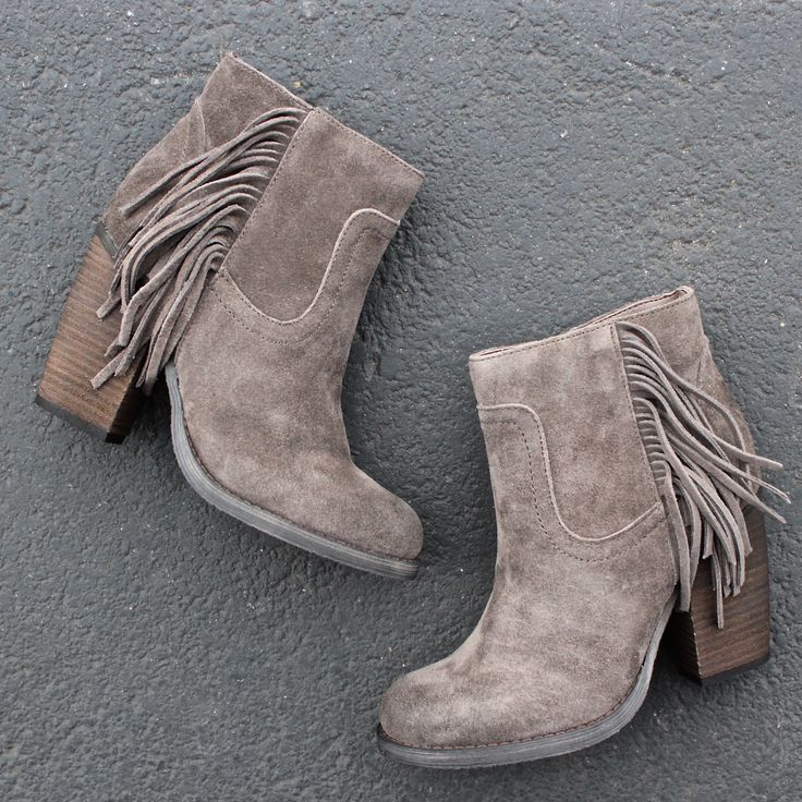 "- Fringe Western Inspired Bootie with Burnished Heel - GORGEOUS in person. - Leather Upper - Stacked Leather 3 3/4"" Heel - Man-made outsole & lining - Lightly Cushioned insole - Inside Zip Closure - N"