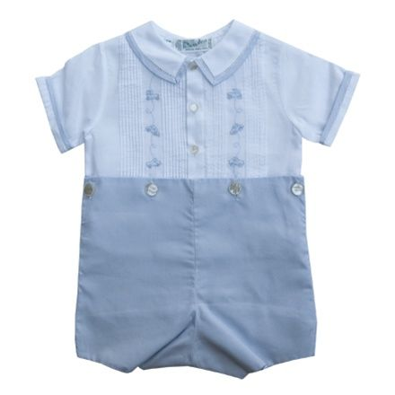Feltman Brothers White and Blue Bobbie Suit,Classic Baby Boy Clothes at Heirlooms To Be