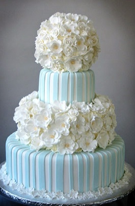 Pale Blue and White Wedding Cake. Repin by Inweddingdress.com #weddingcakes
