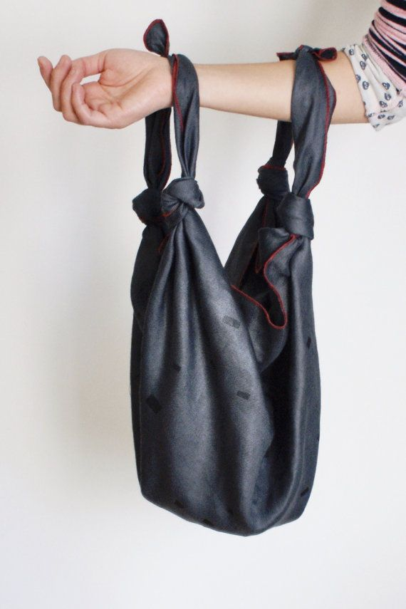 Handmade Furoshiki japanese knotted rustic luxe bag by HITOKOO