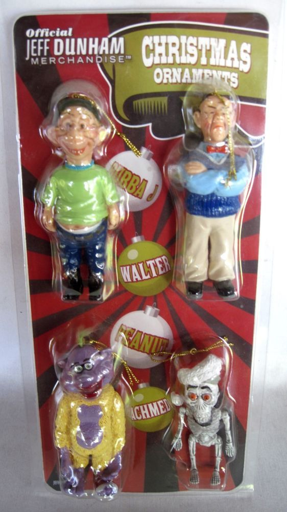 Jeff Dunham Set of 4 Christmas Ornaments BUBBA Walter PEANUT & Achmed! New!