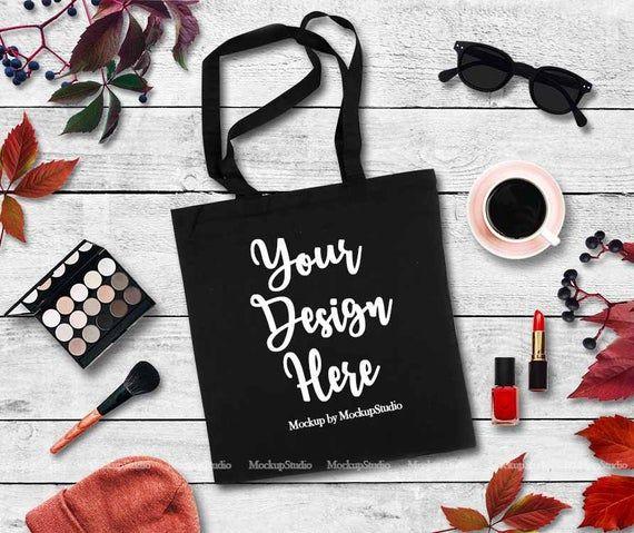 Download Fall Tote Bag Mock Up Autumn Feminine Black Blank Canvas Tote Etsy In 2021 Bag Mockup Design Mockup Free Fall Tote