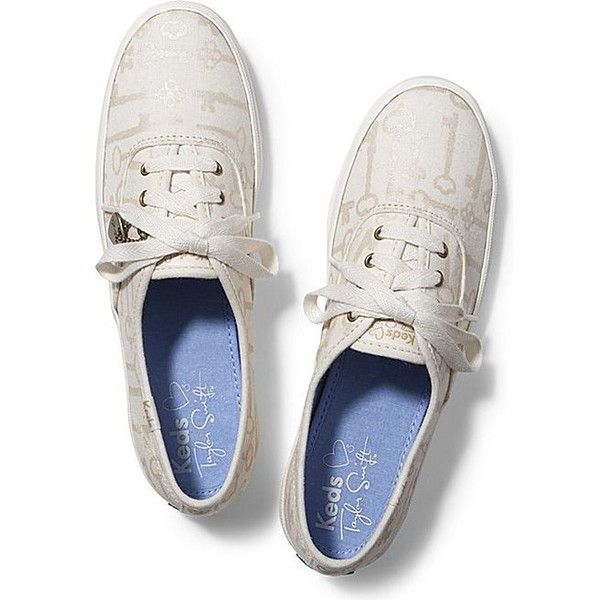 Keds Taylor Swift's Champion Key Print ($55) ❤ liked on Polyvore featuring shoes, sneakers, cream, cream shoes, laced shoes, laced up shoes, keds shoes and keds footwear