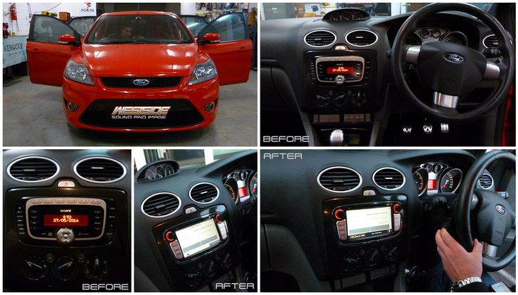 This vehicle received a brand new Zenec ZE-NC3811D Head Unit specifically designed for the Ford Focus XR5 which features navigation, DVD/DIVX/USB, iPhone/iPod integration, Bluetooth, and retains factory controls.