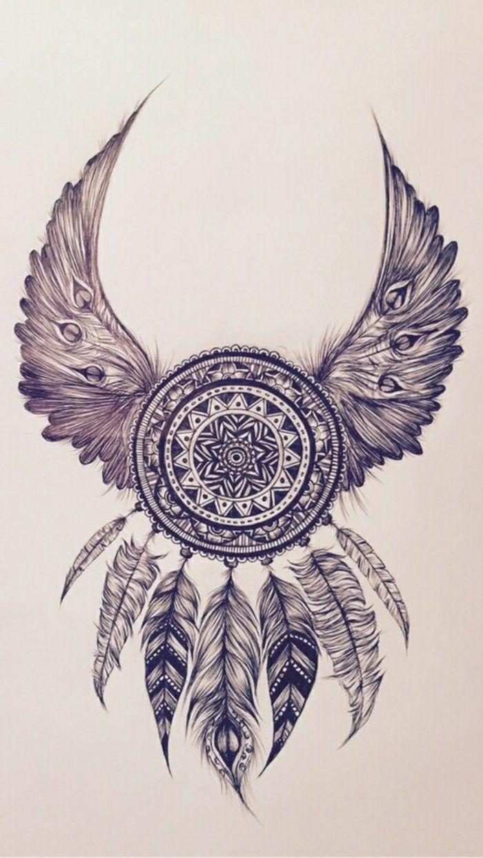 petit mandala, dessin attrape rêve, ailes en plumes, mandala blanc et noir, papier blanc