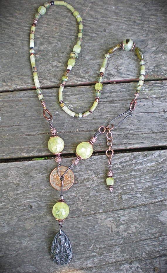 Prehnite Kwan Yin Amulet Necklace by Maggie Zee via Etsy