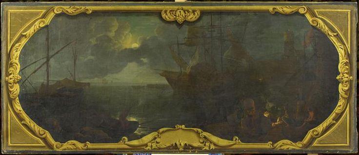 attributed to Joseph Vernet | Marine, port de mer au clair de lune | Images d'Art