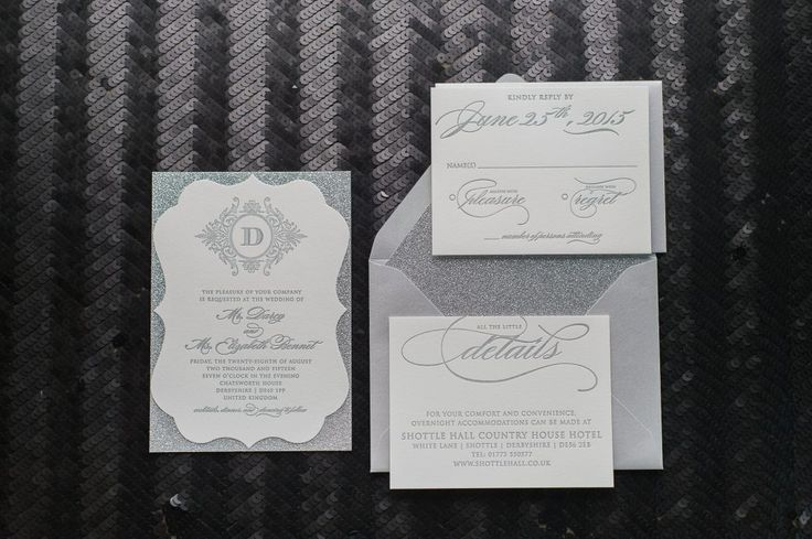 ORNATE FANCY ALL SILVER WITH GLITTER LETTERPRESS WEDDING INVITATIONS FEATURING OUR ABIGAIL SUITE | Elegant Wedding Invitations, Formal Wedding Invitations, Black Tie Wedding, Ornate Wedding Invitations, Silver Letterpress, Abigail Suite, Silver Glitter, Calligraphy, Wedding Invitations, Jupiter and Juno