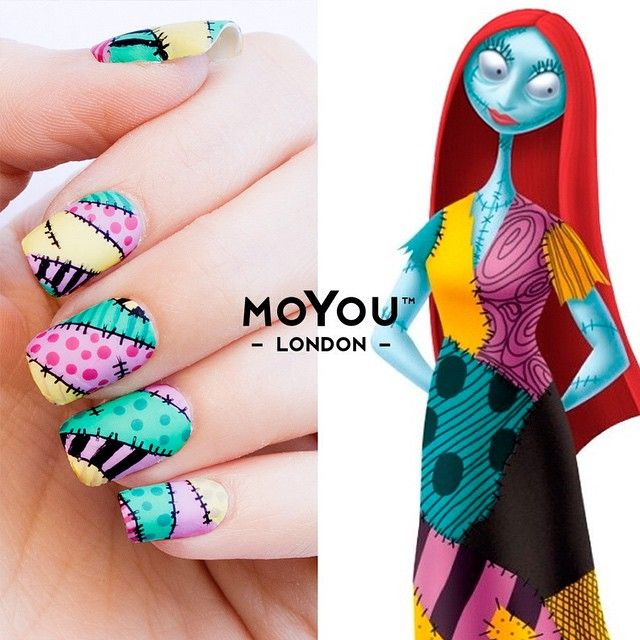 "Sally is not just a patched ragged doll she's also a determined individual with a good feel for what is *hot* in nail art. Halloween is so close girls! check out this style inspired by ""Nightmare Before Christmas""! wahhhhhh We just love the the Gothic Collection!! Moyou"