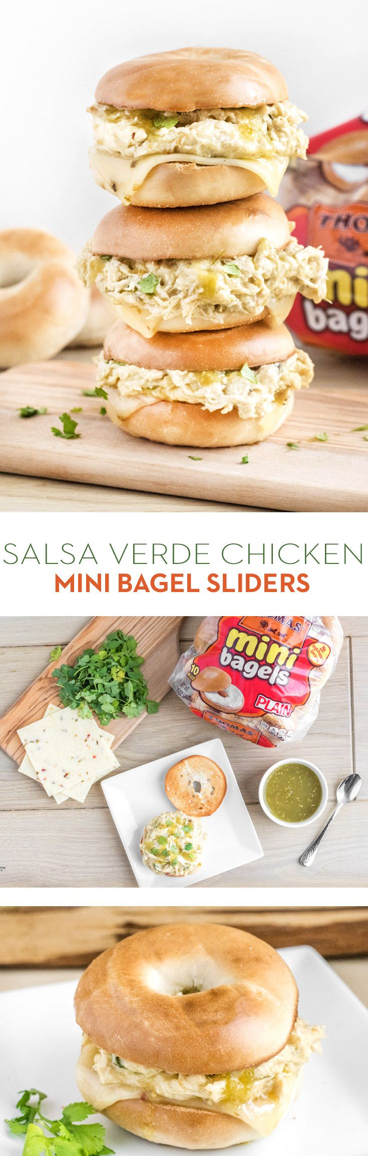 Salsa Verde Chicken Mini Bagel Sliders: Cold weather months call for simple Crock-Pot recipes, and this one's a crowd pleaser. Combine boneless chicken breasts, salsa verde, cream cheese and Colby Jack cheese in a Crock-Pot, cook and enjoy on Thomas' Plain Mini Bagels with a slice of Pepper Jack cheese!
