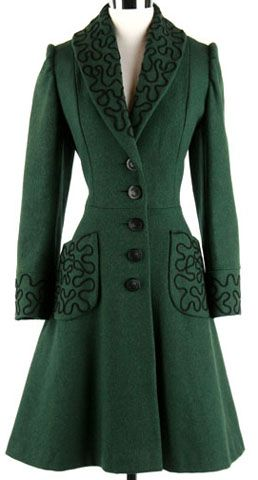 1940's green wool puff-sleeve coat.  Eccentric-pattern braid incorporated into lapels, pockets, and cuffs.