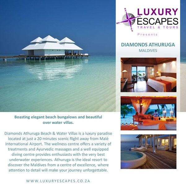 DIAMONDS ATHURUGA MALDIVES. Located at just a 20 minutes scenic flight away from Malé International Airport. Athuruga is the ideal resort to discover the Maldives from a centre of excellence, where attention to detail will make your journey unforgettable. Contact us for a package quote www.luxuryescapes.co.za