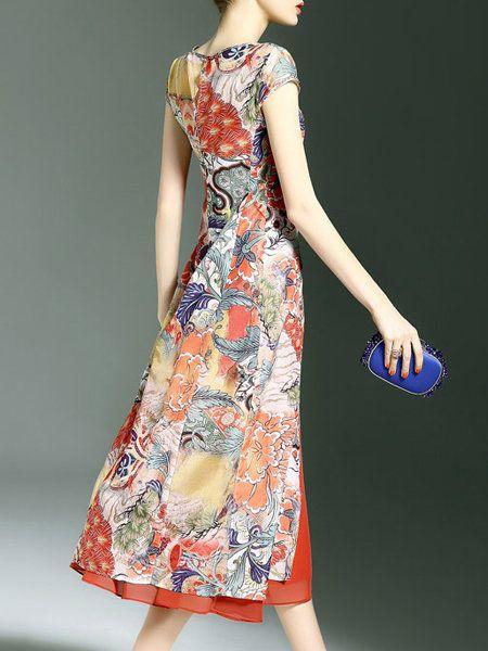 Printed Vintage Sleeveless Midi Dress
