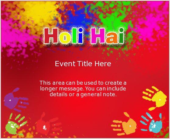 Holi Splash | Holi Invitation, e-Card greeting | EventEve.com