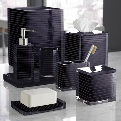 Trump home mar a lago stripe bath accessory collection in for Plum bathroom accessories