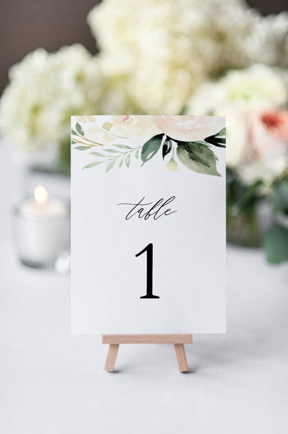 Blush Wedding Table Numbers, Printable Table Numbe…