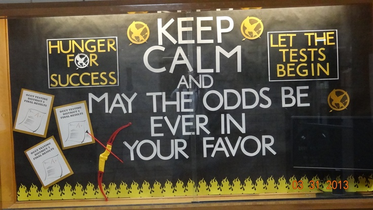 Bulletin Board I made for school testing week using Cricut and clipart playing off the theme from Hunger Games.