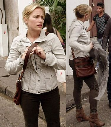 Annie's brown zipper bag and brown ankle boots on Covert Affairs.  Outfit Details: http://wornontv.net/34461/ #CovertAffairs