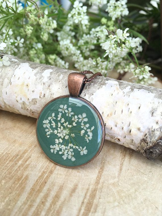Antique Copper Necklace Pendant Green With White Flower Anniversary Present Gift Birthday For Her Under 20 Jewellery Jewelry