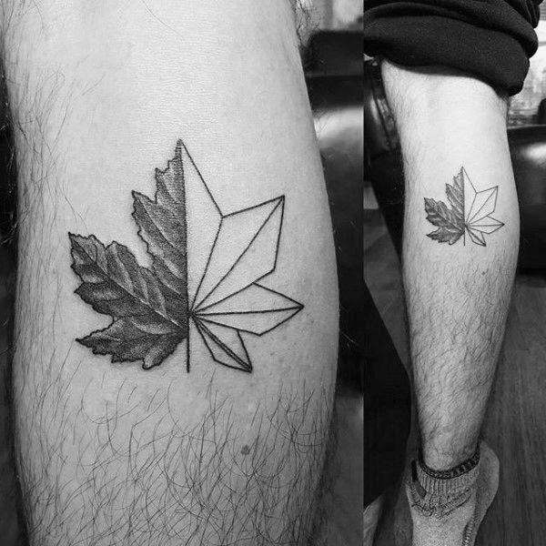 Small Simple Guys Maple Leaf Geometric Leg Calf Tattoo