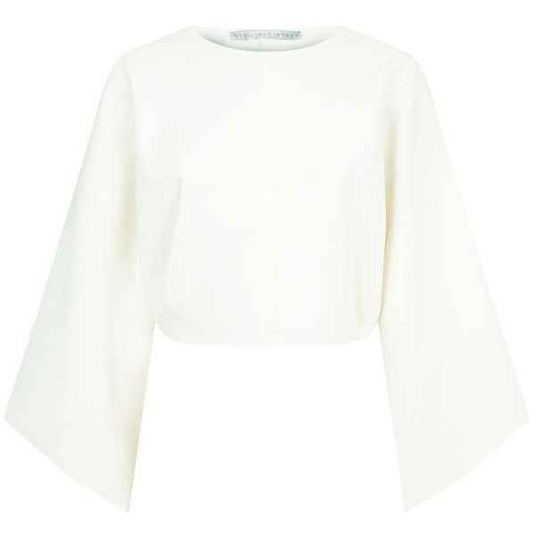 Stella McCartney Cropped Batwing Sweatshirt (2,800 ILS) ❤ liked on Polyvore featuring tops, hoodies, sweatshirts, white top, white batwing top, stella mccartney top, cut-out crop tops and crop top