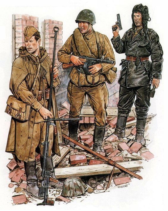 Red Army anti-tank rifleman.-Red Army rifleman.-Soviet Tank Crewman: