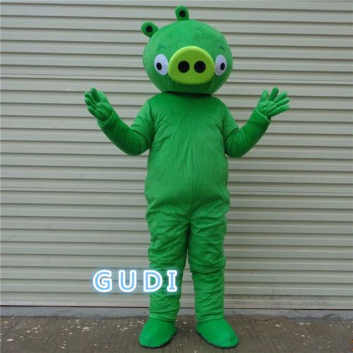 Green pig cartoon mascot costumes Halloween party adult size, free shipping
